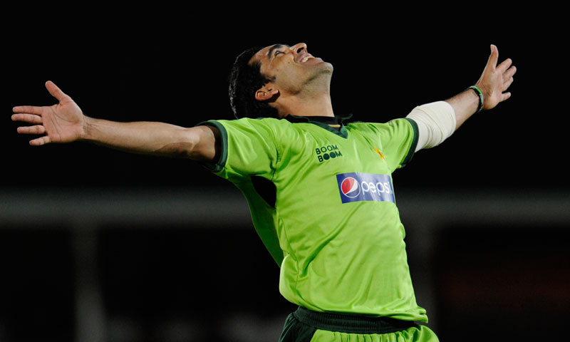 Umar Gul celebrates picking up a wicket at The Oval in 2010. — File Photo