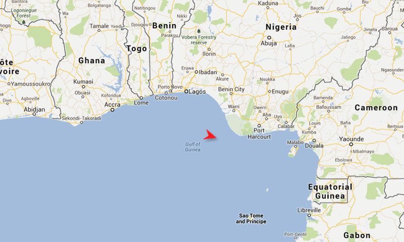 Armed pirates had attacked the Nigerian-flagged MT Matrix and abducted the five Pakistani crew members on May 25 in the Gulf og Guinea, about 40 nautical miles off the coast of the oil-producing Bayelsa state, Nigeria.—Google Maps