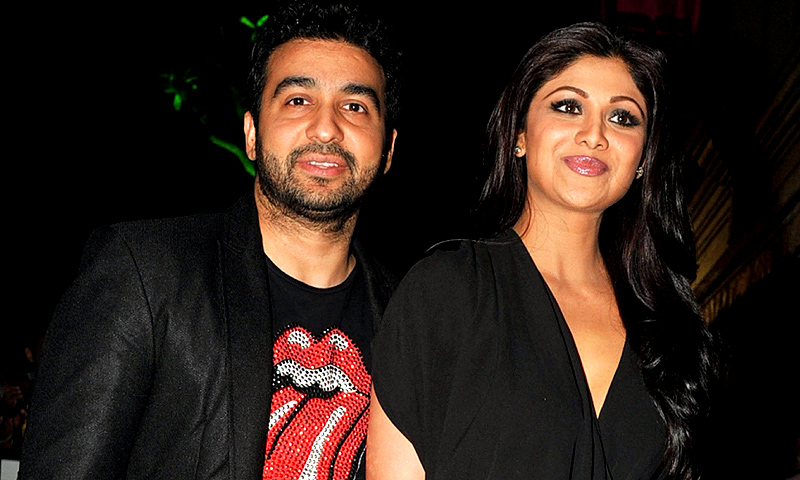 Raj Kundra and his wife Indian Bollywood actress Shilpa Shetty. -Photo by AFP