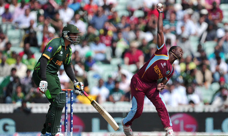 Kemar Roach in delivery stride. — AFP Photo