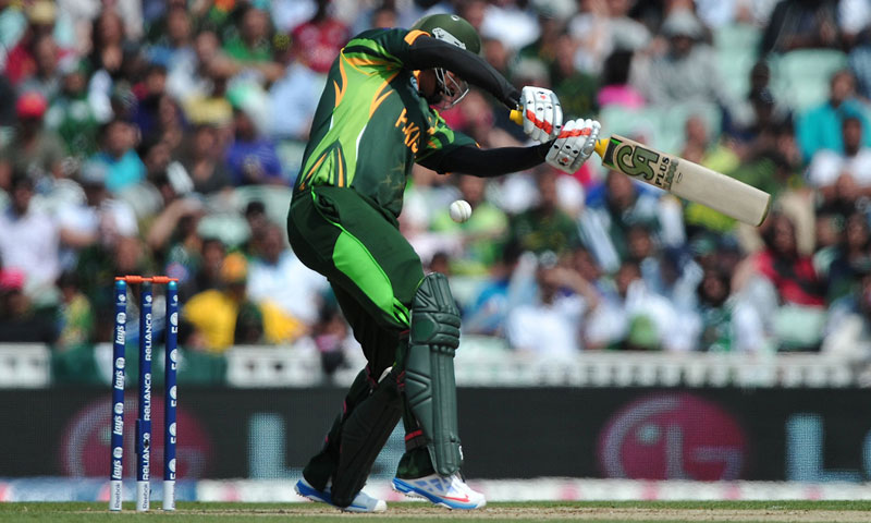 Nasir Jamshed attempts a cut shot. — AFP Photo