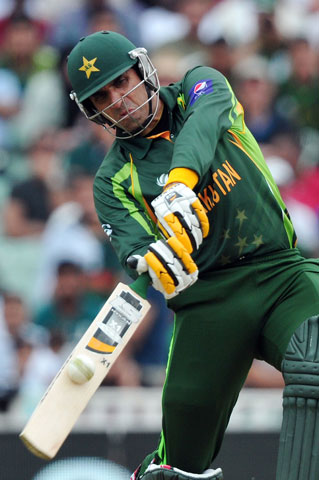 Misbah hits a six. — Reuters