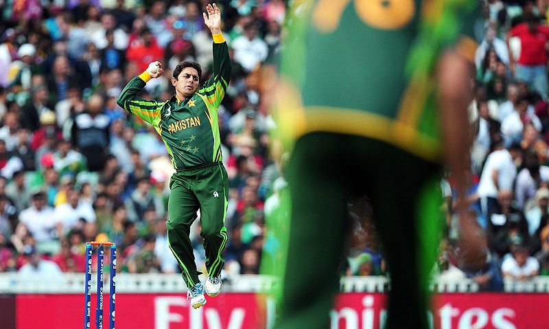 Saeed Ajmal bowls. -Photo by AFP