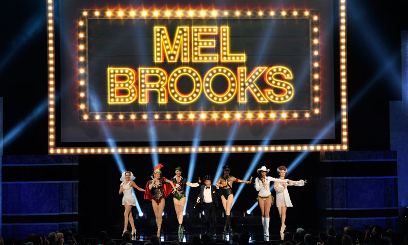 Martin Short and dancers perform a musical tribute to honoree Mel Brooks during the American Film Institute's 41st Lifetime Achievement Award Gala at the Dolby Theatre on Thursday, June 6, 2013 in Los Angeles. — AP Photo