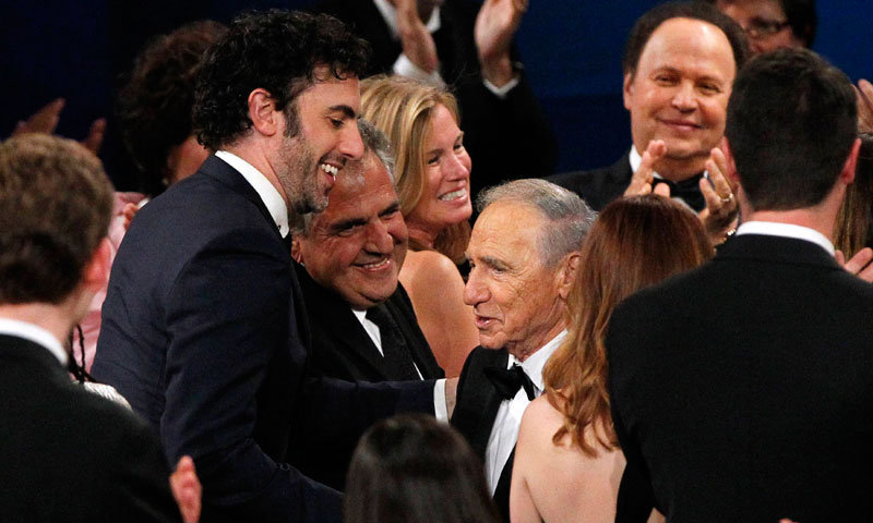 Producer and honoree Mel Brooks, right, greets actor and comedian Sacha Baron Cohen. — Reuters