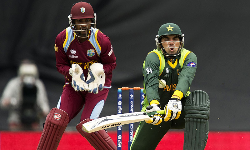 Ramdin wrongly claimed a catch against Pakistan. -Photo by AFP