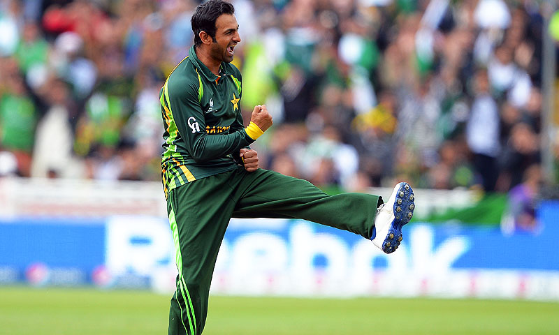 Pakistan's Shoaib Malik celebrates after claiming the wicket of South Africa's Ryan McLaren. -Photo by AFP