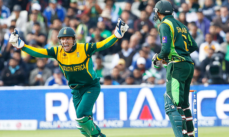 South Africa's AB de Villiers, left, celebrates the wicket of Pakistan's Shoaib Malik. -Photo by AP