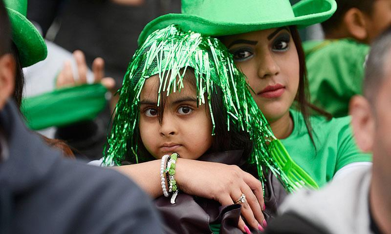 Pakistan fans are pictured in the crowd. -Photo by Reuters