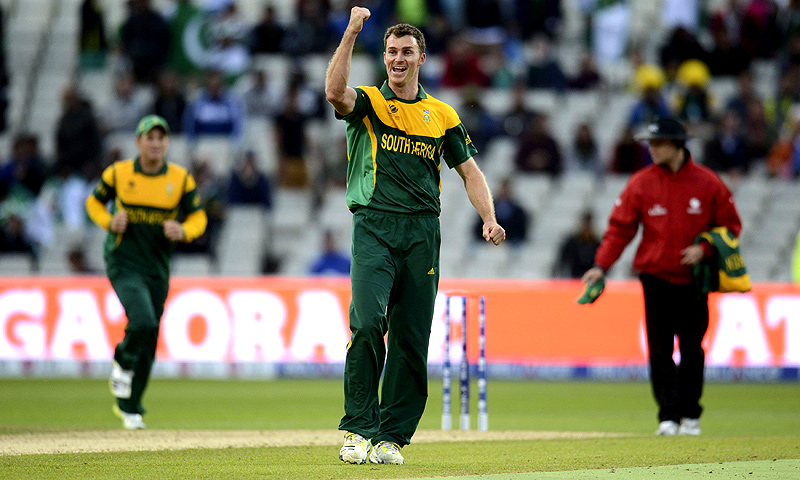 South Africa's Ryan McLaren celebrates one of his four wickets -Photo by Reuters