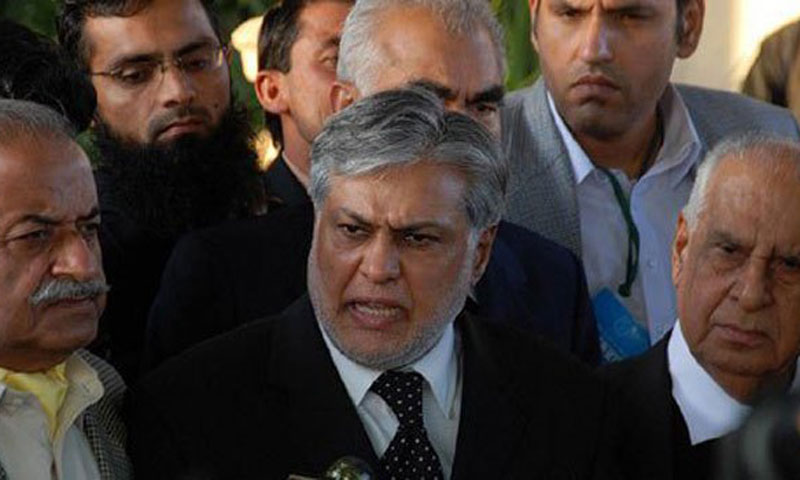 Federal Minister for Finance Senator Ishaq Dar (C).—File Photo