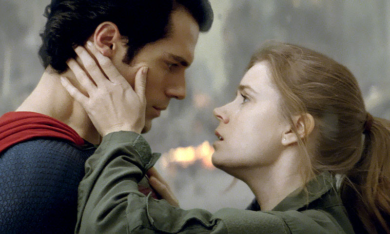 "Pictures shows Henry Cavill as Superman, left, and Amy Adams as Lois Lane in ""Man of Steel.""-AP Photo"