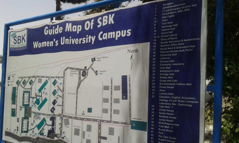 The guide map of Sardar Bahadur Khan Women's University.  - Photo by Syed Ali Shah