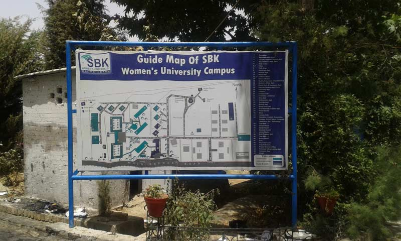 Another photograph of the Sardar Bahadur Khan Women's University guide map. -Photo by Syed Ali Shah