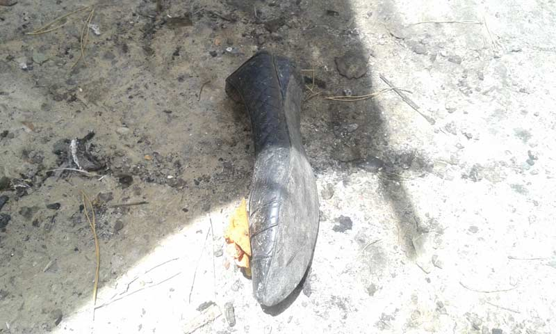 A shoe found at the blast site.  -Photo by Syed Ali Shah