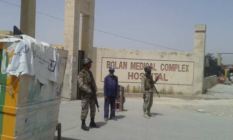 Another photograph of security guards at the Bolan Medical College Hospital. -Photo by Syed Ali Shah