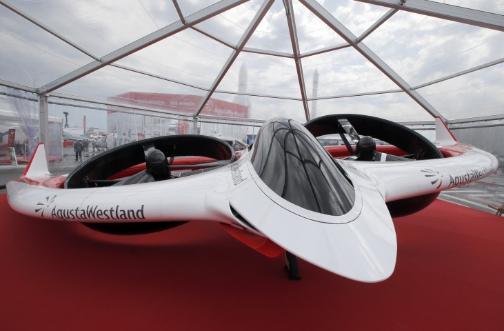"The Aircraft Agusta Westland ""Project Zero"" all-electric tiltrotor technology on display for the Paris Air Show in le Bourget, North of Paris. The Paris Air Show will open on June 17 at Le Bourget. -AP Photo"