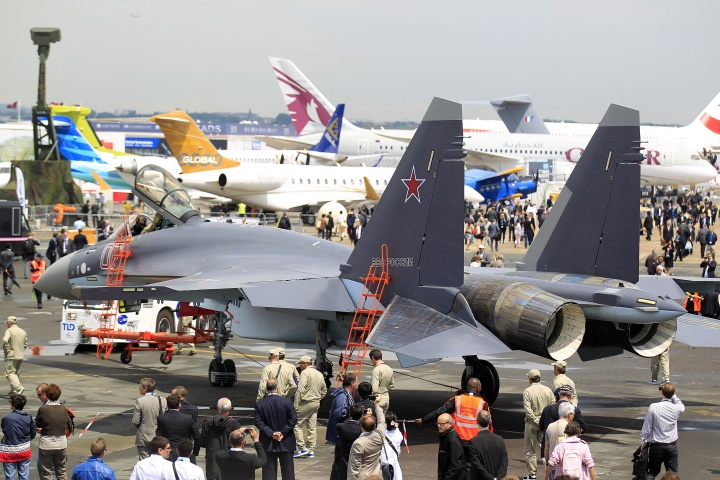 A Sukhoi Su-35 fighter is taxied for a flying display, during the opening of the 50th Paris Air Show, at the Le Bourget airport near Paris, June 17, 2013. The Paris Air Show runs from June 17 to 23. — Reuters Photo