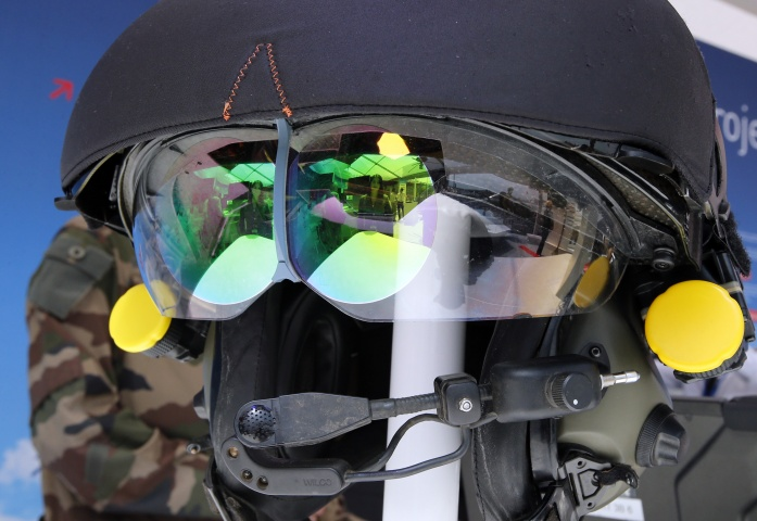 A TopOwl helmet mounted sight, for French army helicopter pilots, is displayed during the first day of the 50th Paris Air Show at Le Bourget airport, north of Paris, Monday, June 17, 2013.— AP Photo