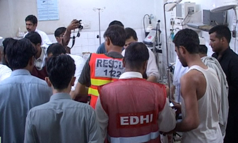 Photo shows scenes from a hospital where the  injured from the deadly suicide blast in Mardan were being treated. —Photo courtesy Zahir Shah Sherazi
