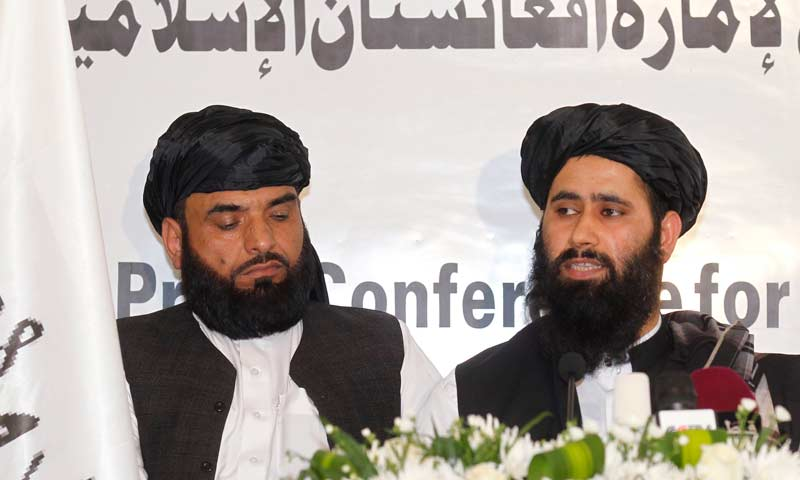 Muhammad Naeem (R), a spokesman for the Office of the Taliban of Afghanistan speaks during the opening of the Taliban Afghanistan Political Office in Doha. -Reuters Photo