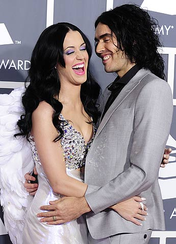 This February 13, 2011 file photo shows singer Katy Perry arriving with her husband comedian Russell Brand for the 53rd annual Grammy Awards at the Staples Center in Los Angeles, California. — AFP Photo