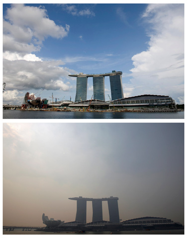 A combination photo shows the clear skyline taken April 25, 2010 and hazy skyline taken June 18, 2013, of the Marina Bay Sands in Singapore. — Reuters Photo