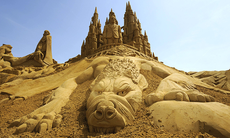 A sand sculpture is on display during the Sand Sculpture Festival in Blankenberg on June 18, 2013. — AFP Photo