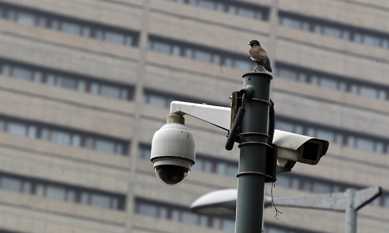 A bird sits atop a closed-circuit television (CCTV) camera pole at a traffic intersection in New Delhi June 18, 2013. India has launched a wide-ranging surveillance programme that will give its security agencies and even income tax officials the ability to tap directly into e-mails and phone calls without oversight by courts or parliament, several sources said. — Reuters Photo