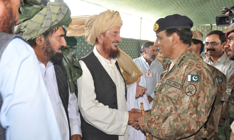 Army Chief Gen Ashfaq Pervez Kayani meets tribal elders during his visit to South Waziristan on Thursday. – Photo by ISPR