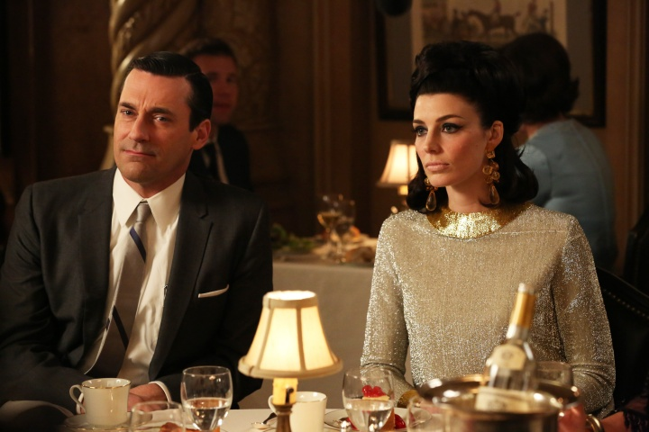 "his TV publicity image released by AMC shows Jon Hamm as Don Draper, left, and Jessica Pare as Megan Draper in a scene from ""Mad Men."" — AP Photo"