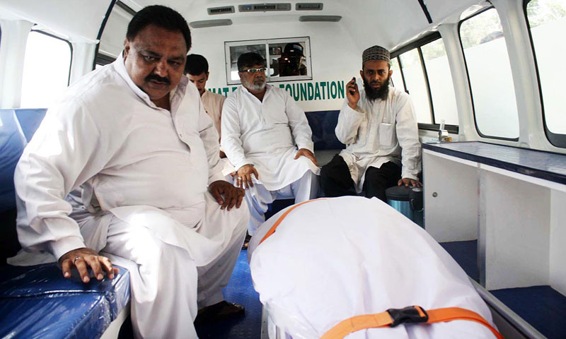 Body of MQM Member of Sindh Assembly Zahid Qureshi is seen in the ambulance after he was killed in a target killing incident in Karachi. — Online Photo by Anwar Abbas