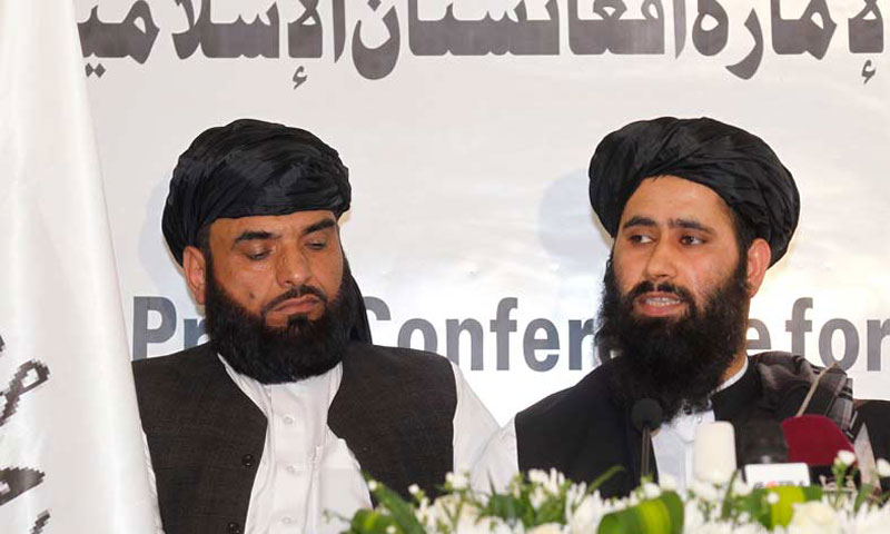 Muhammad Naeem (R), a spokesman for the Office of the Taliban of Afghanistan, speaks during the opening of the Taliban Afghanistan Political Office in Doha —Reuters Photo