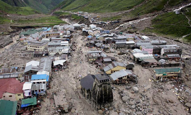 A view of the Hindu holy town of Kedarnath from a helicopter after a flood, in the northern Indian state of Uttarakhand, India, Tuesday, June 18, 2013. —AP Photo