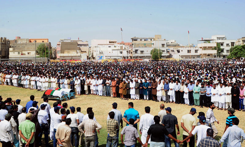 Activists and supporters of Muttahida Qaumi Movement offer funeral prayers for lawmaker Sajid Qureshi and his son in Karachi on June 22, 2013. – AFP Photo