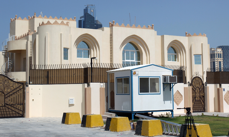 "This photo was taken on Thursday, June 20, 2013 shows the new office of the Afghan Taliban in Doha, Qatar after the opening of the office several days ago. The United States on Thursday welcomed Qatar's decision to take down a sign that cast the Taliban's new office in Doha as a rival Afghan embassy saying the militant group can't represent itself ""as an emirate, government or sovereign."" (AP Photo/Osama Faisal)"