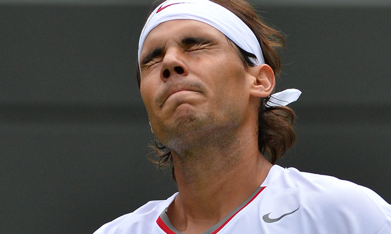 Spain's Rafael Nadal reacts after a point lost against Belgium's Steve Darcis.