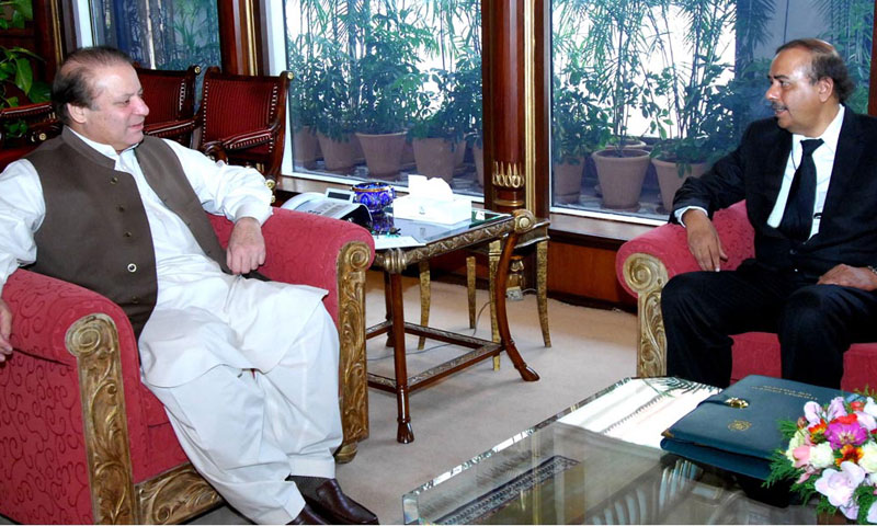 Attorney General of Pakistan Munir A. Malik called on Prime Minister Nawaz Sharif at the prime minister's office in Islamabad.—Online Photo