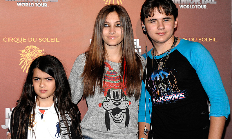 From left, Blanket Jackson, Paris Jackson, and Prince Michael Jackson at the opening night of the Michael Jackson The Immortal World Tour in Los Angeles. — AP Photo