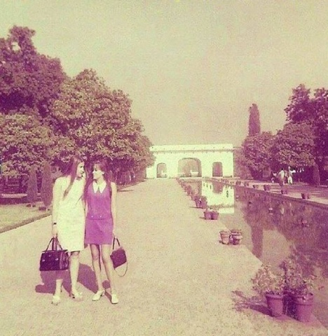 European tourists take a walk at Lahore's Shalimar Gardens, 1966.