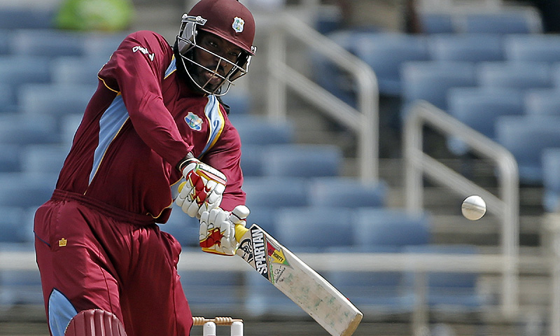 Gayle's 109 came off 100 deliveries and was embellished with seven sixes and nine fours. -Photo by AP