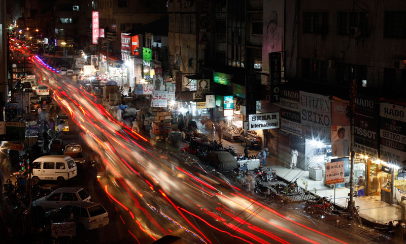A view is seen of a busy street in Karachi June 29, 2013. — Photo by Reuters