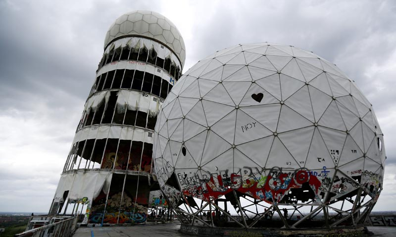 Broken antenna covers of Former National Security Agency listening station are seen at the Teufelsberg hill in Berlin, June 30, 2013. — Reuters Photo