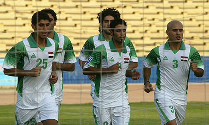 Iraqi football players are seen during a practise session at the Shaab stadium in Baghdad.   — File Photo by AFP