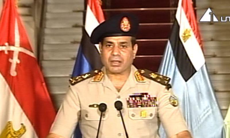 This image made from video shows Lt. Gen. Abdel-Fattah el-Sisi addressing the nation on Egyptian State Television Wednesday, July 3, 2013. – AP Photo