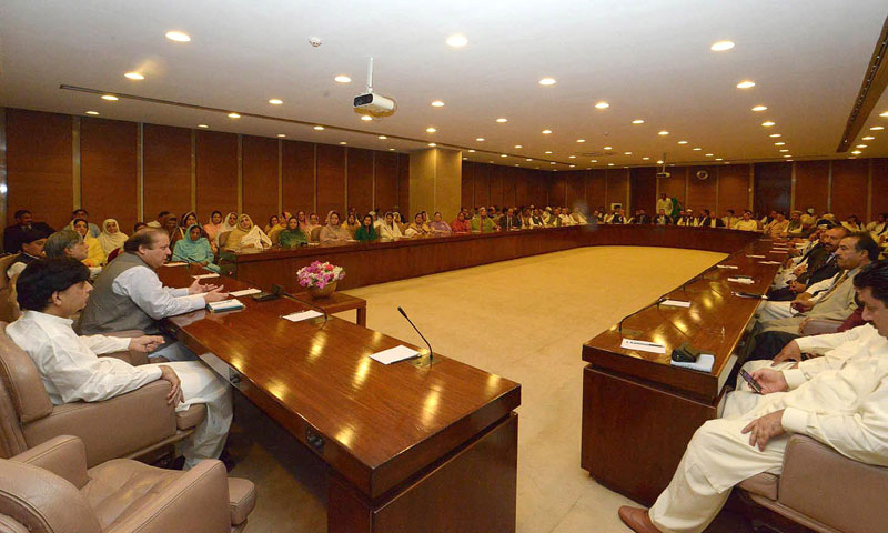 Prime Minister Nawaz Sharif chairs Parliamentary Party meeting. Senator Ishaq Dar, Ch. Nisar Ali Khan Khurram Dastageer and others are also present. — File Photo by INP