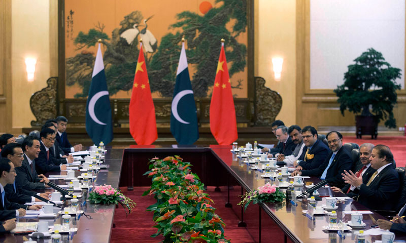 Prime Minister Nawaz Sharif and Chinese Premier Li Keqiang meet at in Beijing on July 5, 2013. Sharif is in China on a five-day official visit. — Photo by Reuters