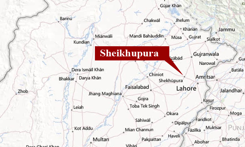Image shows location of Sheikupura on the map of Pakistan.—courtesy Bing maps