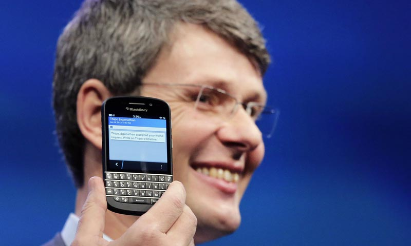 In this photo, Thorsten Heins, CEO of Research in Motion, introduces the BlackBerry Z10, in New York. — AP Photo
