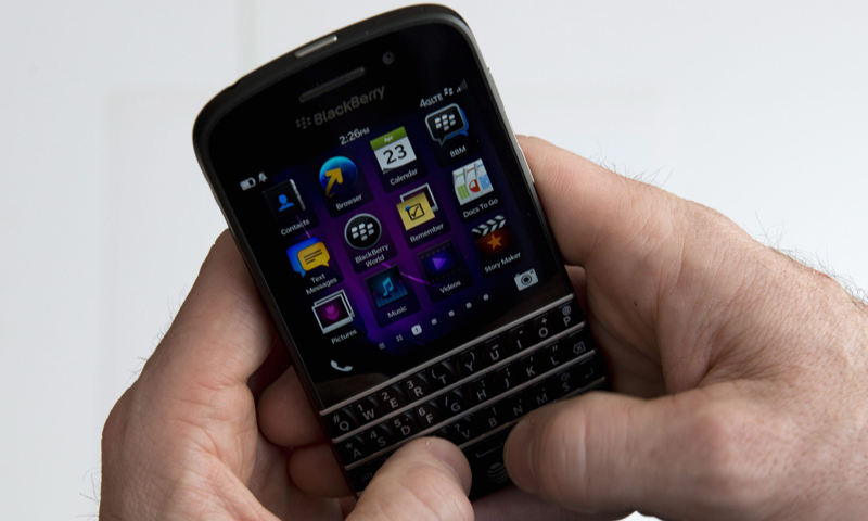 In this photo, a BlackBerry Q10 smartphone is displayed in Toronto. — AP Photo
